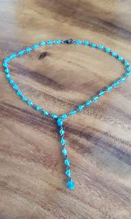 Vintage unused brilliant Turquoise Blue Beaded Necklace from Paris