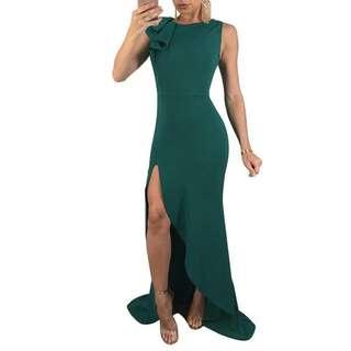 RCEFG051940 - Elegant Flounce Slit Sleeveless Maxi Dress