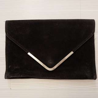 RUBI BLACK suede clutch