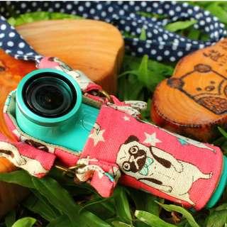 🚚 訂製款HTC re 鬥牛犬-櫻桃粉 繞頸袋 手縫 手工 擦拭布