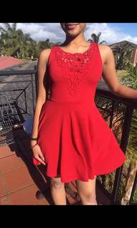 Red lace front dress