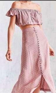 Pink polka dots crop top maxi skirt terno