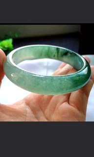 🌹(58.9mm) Grade A 冰种 胶感 Icy Jelly Green Jadeite Jade Bangle🌹