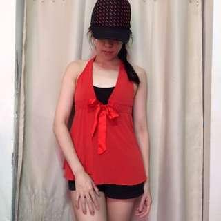 🚚 (190以下3件350)紅色削肩露背低胸小可愛背心