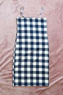 Checkered Straight Bodycon Dress