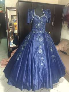 Midnight Blue Filipiñana Gown