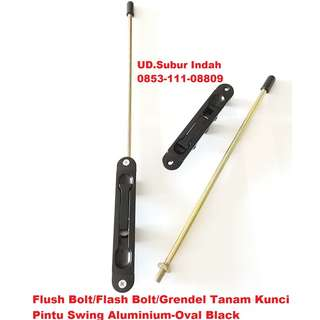Flush Bolt/Flash Bolt/Grendel Tanam Kunci Pintu Swing Aluminium-Oval Black