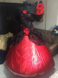 Black & Red Filipiñana Gown