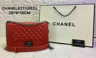 Chanel Boy Lambskin Red Color