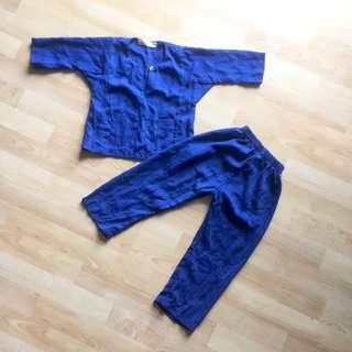 Navy Blue Stripes Baju Melayu / 2 year old.