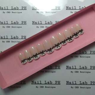 French tip with bow Fake nails faux nails false nails customize press on nails