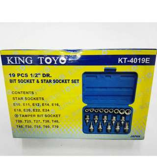 "King Toyo 19pcs 1/2"" DR. Socket & Star Wrench Set"
