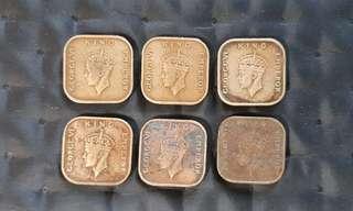 Malaya King George VI 1c coins 1939 & 1940