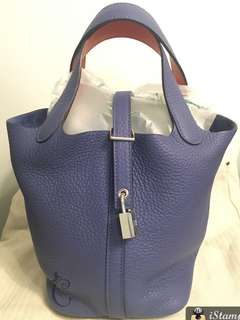 全新Hermes Picotin 18 blue brighton/capucine 銀扣
