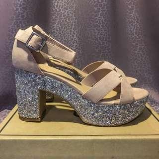 US9 New Look Suede Glitter Platform Heels