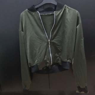 Crop bomber jacket (dark green/green army)