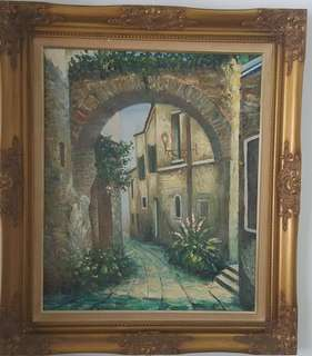 Vintage European oil painting