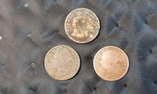 Straits Settlements Queen Victoria 1/4 c coins 1872, 1899, 1901