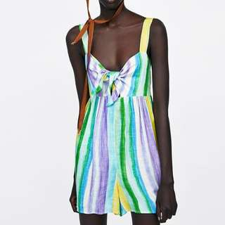 🚚 European and American style rainbow striped tie dye chest strap dress