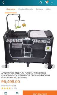 APRUVA PACK AND PLAY PLAYPEN WITH DIAPER CHANGING DECK WITH MIDDLE DECK AND ROCKING FEATURE