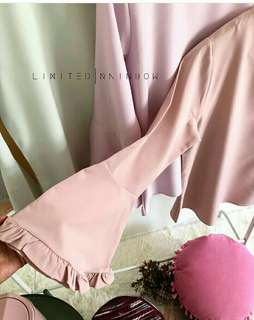 Top blouse nude flares sleeve
