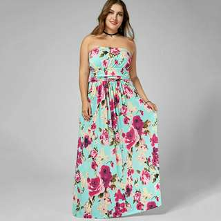 Full Length Floral Strapless Dress XL - 5XL Preorder Only