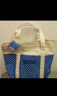 新款Crabtree & Evelyn 藍色圓點麻布質地手挽袋