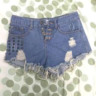 Embellish high-waist denim shorts