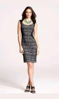 Anne Taylor Tweed Print Angular Seam Bodycon Dress
