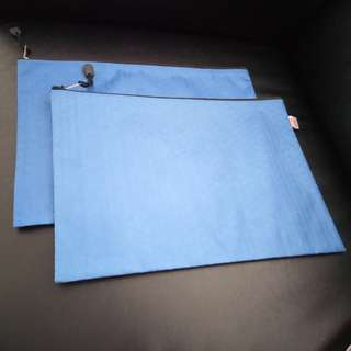 A4 size Zipper Document Bags (Blue). Brand new, never used