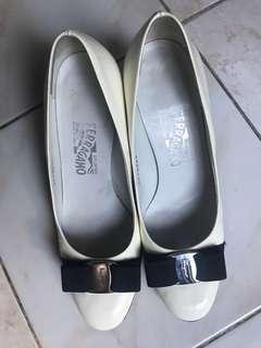 Salvatore Ferragamo white patent shoes