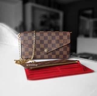 Authentic Louis Vuitton Damier Ebene Felicie LV