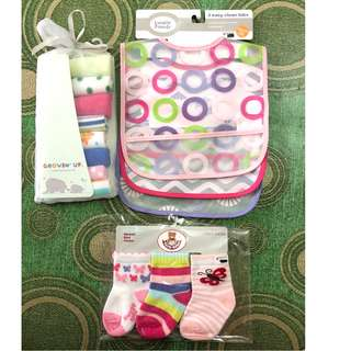 Baby bibs, wash cloth & socks
