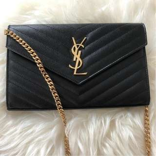 Brand New YSL Wallet on Chain in Black with GHW