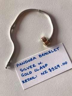 PANDORA TWO TONE BRACELET 18cm