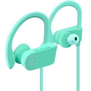 289. Bluetooth Headphones for Women Turquoise HITASION Best Wireless Sports Earphones W/Mic HD Crisp Sound Waterproof Hooks Gym Running Workout 8 Hours Battery Noise Cancelling Headsets Mint Green