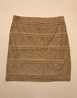 Brand New. FOREVER21 Beige Lace Mini Skirt