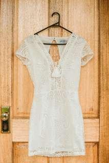 Classy White Lace Dress