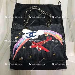 (Sold) Chanel vintage 夜間飛行系列牛仔購物袋