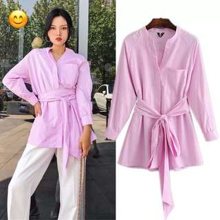 🚚 European and American style pink stripes printed bow tie long shirt