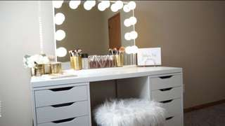 Vanity table, mirror and stool