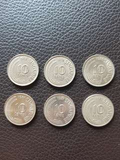 Old 1971,1976,1980,1981 Singapore 10 Cents Coins