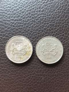 Old 1986,1987 Singapore 20 Cents Coins