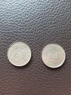Old 1986,1987 Singapore 10 Cents Coins