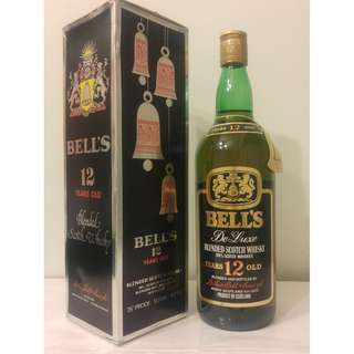 (617) 舊酒 Bell's Deluxe scotch whisky 12years 1000ml 43% (有盒) 日本法國舊酒洋酒威士忌白蘭地干邑拿破崙whisky brandy cognac xo vsop napoleon