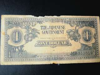 Very rare malaya japanese  $1 with sn MB and numerical nos in  {good grade}