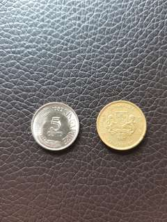 Old 1982,1987 Singapore 5 Cents Coins