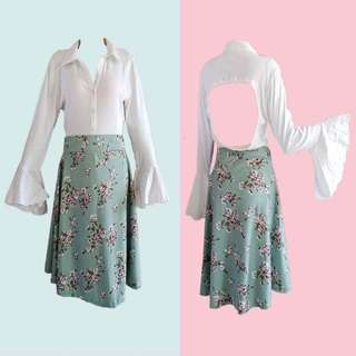 BUNDLE: WHITE RUFFLED LONGSLEEVES (GUESS) & GREEN FLORAL MIDI SKIRT (HTP)