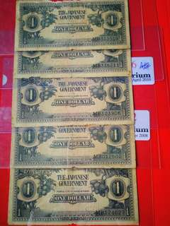 Very rare malaya japanese occupation $1 with MB and sn  6 pcs