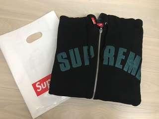 Supreme 2018 Week12 Jet Sleeve Zip Up Hooded Sweatshirt 黑 M